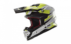 Кроссовый шлем LS2 MX456 FACTORY WHITE BLACK HI-VIS YELLOW - фото на Mybro.com.ua